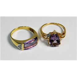 2 yellow gold & amethyst ring