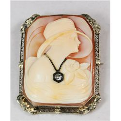 Art Deco figural cameo with diamond drop