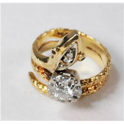 "14kt yellow gold & diamond ""Snake"" ring"