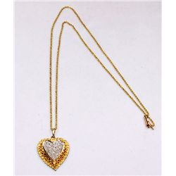 "Diamond & 14kt yellow gold ""Heart"" drop with chain"