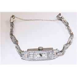 Art Deco ladies platinum & diamond watch