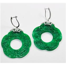 Pair jade, diamond & gold earrings