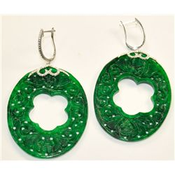 Pair jade, diamond &amp; gold earrings