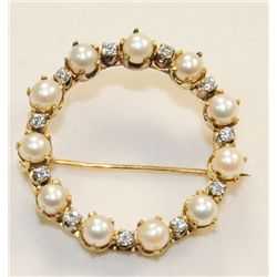 Cartier 18kt yellow gold, pearl & diamond pin
