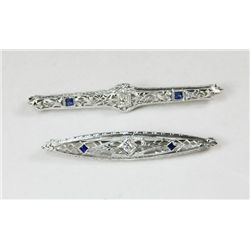 2 14kt white gold & diamond bar pins