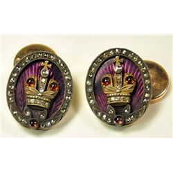 Russian gold,enamel & diamond cufflinks