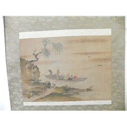 Japanese scroll of  Men in Boat