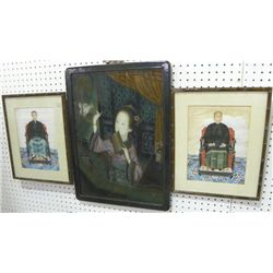 Oriental reverse painting & pair watercolors
