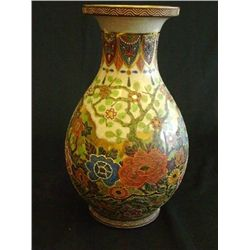 Chinese vase with paint & raised decoration