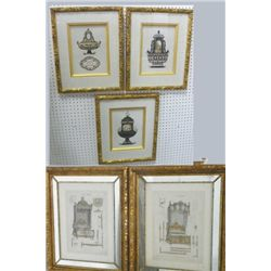Set of 5 prints in gilt frames
