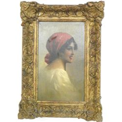 "19th c. oil painting ""Peasant Gypsy"" signed Toroz"