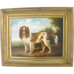"Shipley signed oil painting ""Spaniel in Landscape"""