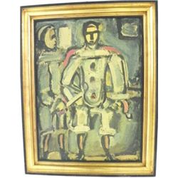 Gilt framed abstract with signature G. Rouault