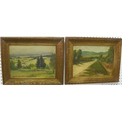 Pair oil paintings signed R. Harvey