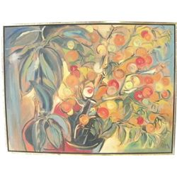 "Abstract oil painting ""Fruit Tree"" signed O.M."