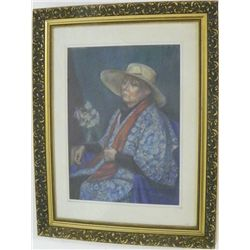 Gilt framed pastel signed Massaria