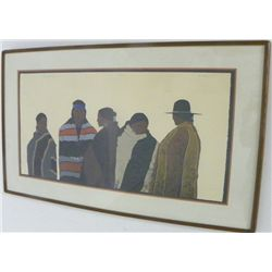 "Framed watercolor ""The Gathering"" by DeMayo"