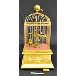 "19th c. gilded ""Bird Cage"" music box"