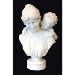 "Antique marble ""Mother & Child"" Signed Guasti"