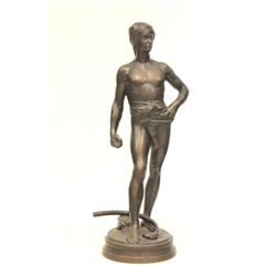 Bronze figure of  David  F. Barbidienne
