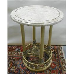 Modern parquetry round marble top table