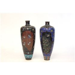 Pair 19th c. cloisonne vases