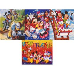 4 Disney Prints Mickey &amp; Friends Bikes, Rollercoaster