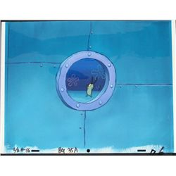 Orig SpongeBob Animation Cel, Background Plankton Jump