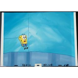 Original SpongeBob Animation Cel &amp; Background Fright!