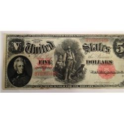 1907 $5 FIVE DOLLAR LEGAL TENDER NOTE WOODCHOPPER