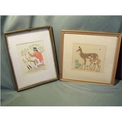 2 Harrison Begay Matted & Framed Silkscreens