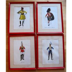"4 - Vintage Framed 11"" x 13"" British Soldier Print"