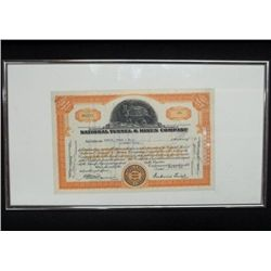 Framed Stock Certificate Nat'l Tunnels & Mines Co.