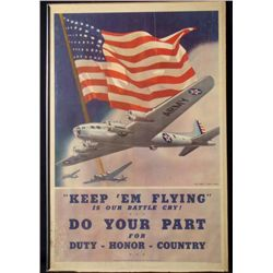 USAAF WWII ORIG WAR POSTER  KEEP 'EM FLYING...  1942