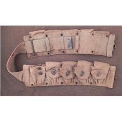ORIG WWI 10 POUCH AMMO BELT-MKD  AS5  BRASS W/CANVAS