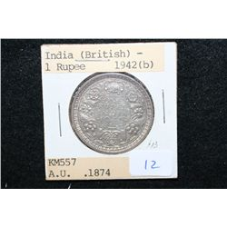 1942 India (British) 1 Rupee Foreign Coin; AU