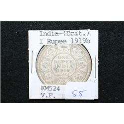 1919 India (British) 1 Rupee Foreign Coin; VF