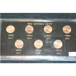 1982 Lincoln Cent Coin Set; Lot of 7