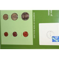 Dominion Of New Zealand; Coin Sets of All Nations W/Postal Stamp Dated 1982