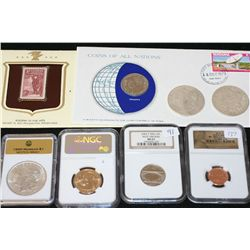 Grab Bag to include Graded Coins, First Day Issue, Historic Stamps & Silver Morgan; Lot of 8
