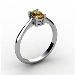 Citrine 0.45 ctw Ring 14kt White Gold