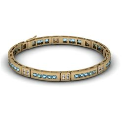 Aqua Marine 2.56 ctw Diamond Bracelet 14kt W OR Y Gold