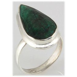 41.32ct Natural Pear Emerald Sterling Silver Ring