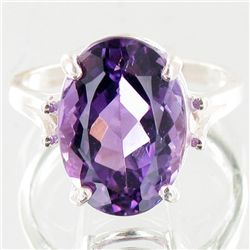 19.6twc Natural Amethyst Sterling Ring (JEW-4011)