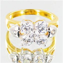 15.0twc Lab Diamond Gold Vermeil Ring (JEW-3521)
