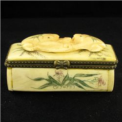 Chinese Handcarved Bone Gem Box (CLB-842)