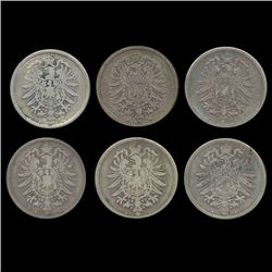 1875 Germany 1 Mark Better Grade 6 Pcs 2 Mints (COI-8017)