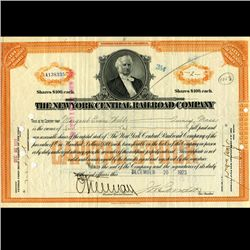 1923 NY Central Railroad Stock Certificate pre-Depression (CUR-06628)