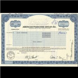 1990s American Franchise Group Stock Certif Scarce (COI-3457)