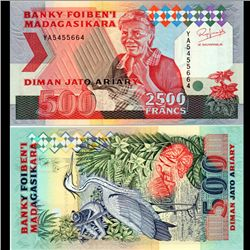 1993 Madagascar 2500 Franc Note Crisp Unc (CUR-07099)